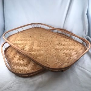 Set of 2 Vintage Bamboo Woven Breakfast Tray Tiki